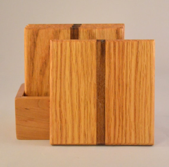 Oak with Walnut Stripe Coasters (MC009a)