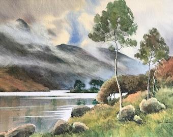 Lakeland mists, lake district, lakeland paintings, lakeland scenery, misty mountains, mountains, watercolor landscape, original watercolour