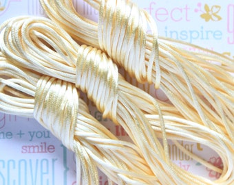 10 Yd Beige Satin Cord 2mm Rattail thread for Shamballa jewelry making. Chinese Knot Cord Rattail Satin Braided String