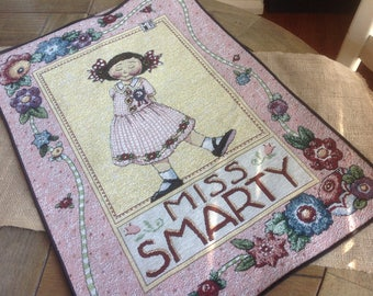 Mary Engelbreit's Miss Smarty Pants FREE SHIPPING Tapestry Wall Hanging with Wooden dowel