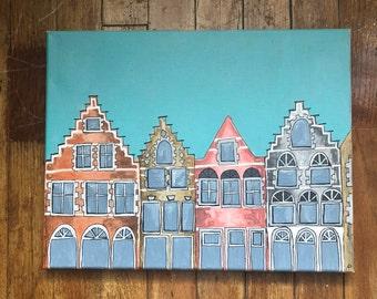 Amsterdam Acrylic Painting, 11 x 14 wall decor, art