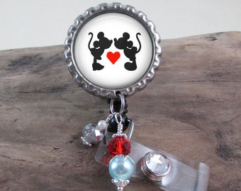 Badge Reel Mickey and Minnie Mouse - Retractable Badge Reel - Choose From 3 Designs - Micky and Minnie Badge Reel Gift Idea - Rhinestones