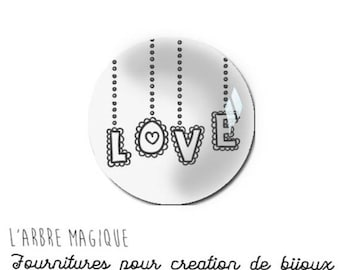 2 cabochons craft love heart message glass 20 mm - N904