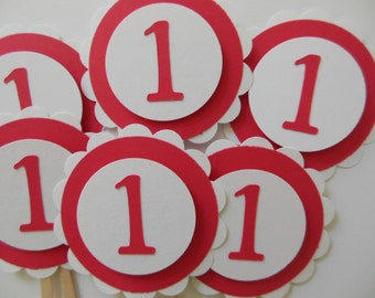 1st Birthday Cupcake Toppers - Red and White - Child Birthday Party Decorations - Gender Neutral- Set of 6