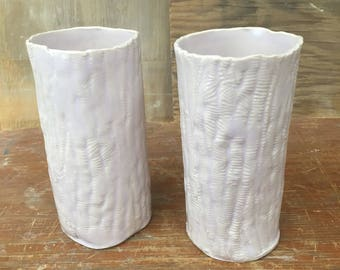 Textured Porcelain Tumblers with Color Changing Glaze - Handmade Pink Purple Blue Glasses 12 oz