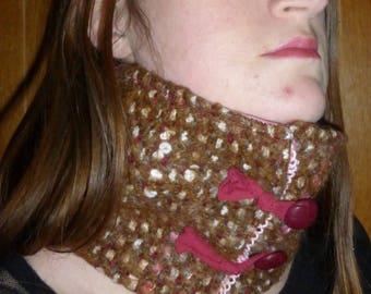 Warm burgundy and brown wool snood