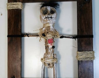 He was not good to me-voodoo-wall hanging-poppet-macabre-decoration-freak-curiosities-witchcraft-ritual-strange doll-protection-wall art--