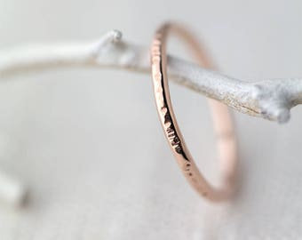 Bark Textured Rose Gold Ring Band - Hammered Stacking Ring Rose Gold Filled - Skinny Stack Ring - Minimalist Ring Handmade Pink Gold