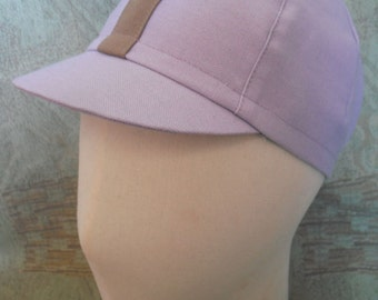 SALE Lavender Cycling Cap with Tan Stripe