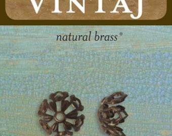 Tapestry Bead Cap 12.7mm, 2 Pieces, Vintaj Natural Brass (BC0007)