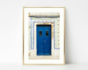 Tile Art Decor // Door Photography // Blue Gallery Wall Prints // Lisbon Portugal // Art Print // Colorful