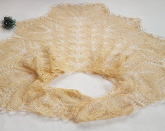 Shawl Knitted shawl Beige shawl Wrap shawl Gift for her Gift for mom Gift