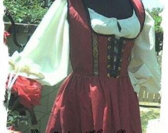 Cotton Renaissance dress gown pirate wench costume steampunk wine