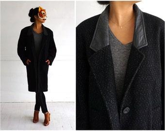 Vintage 1980's Long Marled Black Jacket with Leather Lapels by David Benjamin   Medium/Large