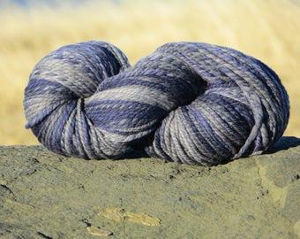 Handspun Handpainted Merino Wool Yarn, 5 oz., 140 g., 155 yards, Bulky Weight - Midnight - Navy Grey Gray