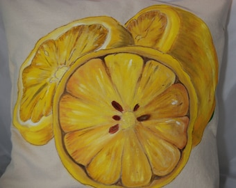 Lemon slice painting on canvas pillow with button closure