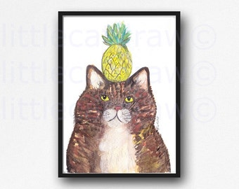Pineapple Cat Print Tropical Kitty Cat Watercolor Painting Print Cat Art Print Wall Decor Wall Art Cat Lover Gift Cat Decor Pineapple Print
