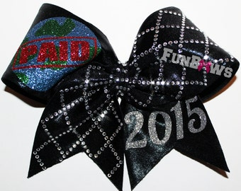 PAID Bid Awesome Rhinestone Cheer Bow by Funbows 1