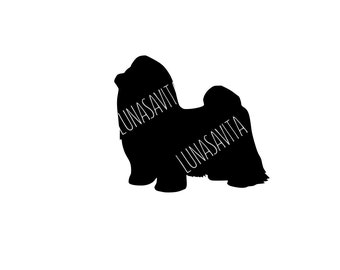 Longhaired Shih tzu Design, Dog SVG, DXF Files for Cricut Design Space, Silhouette Studio, Die Cut Machines, Instant Download of svg, dxf, &