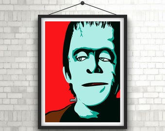 HERMAN MUNSTER  |   Fred Gwynne, The Munsters   |   Minimalist Portrait Poster Print