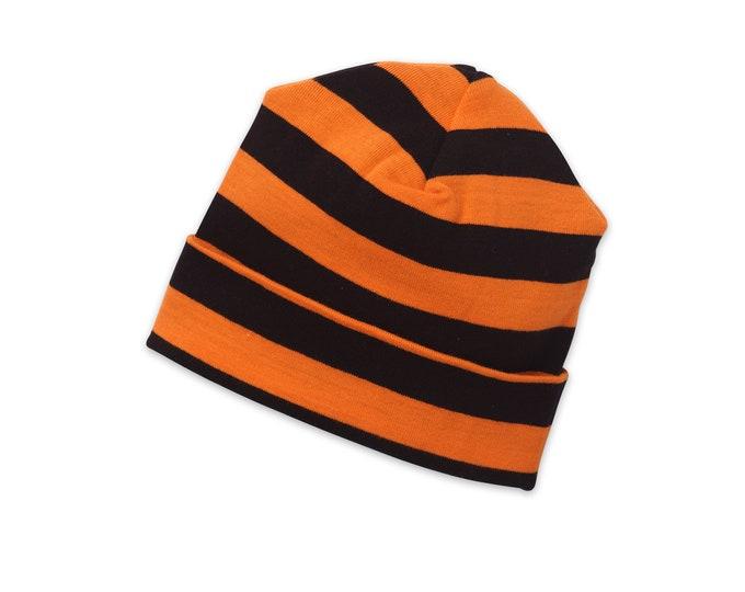 Halloween Newborn Baby Hat, Baby Halloween Hat, Baby Orange Black Hat Girls, Baby Boy Halloween Hat, Baby Orange Black Hats Tesa Babe