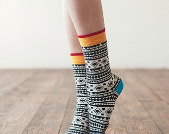 Chamanes socks, fun colorful socks  for women, casual socks, patterned women socks.