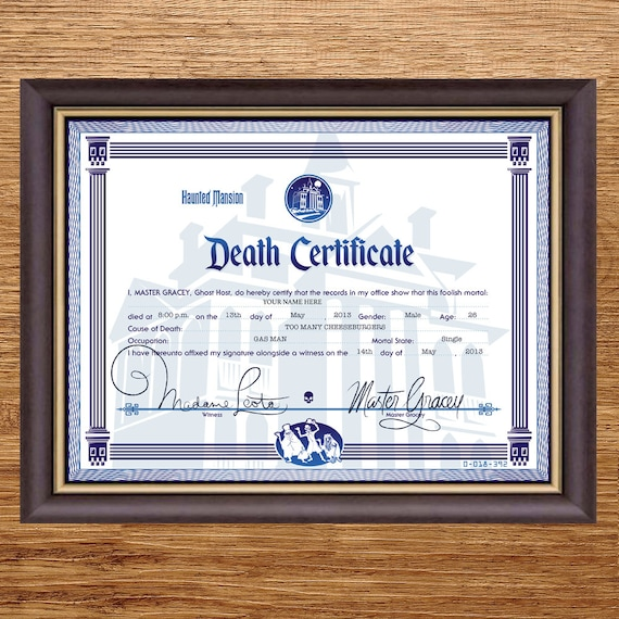 Disney haunted mansion death certificate digital file disney haunted mansion death certificate digital file yadclub Choice Image