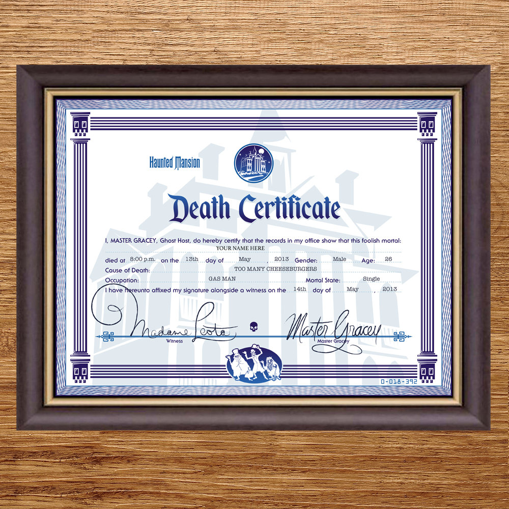 Disney haunted mansion death certificate digital file zoom pronofoot35fo Choice Image