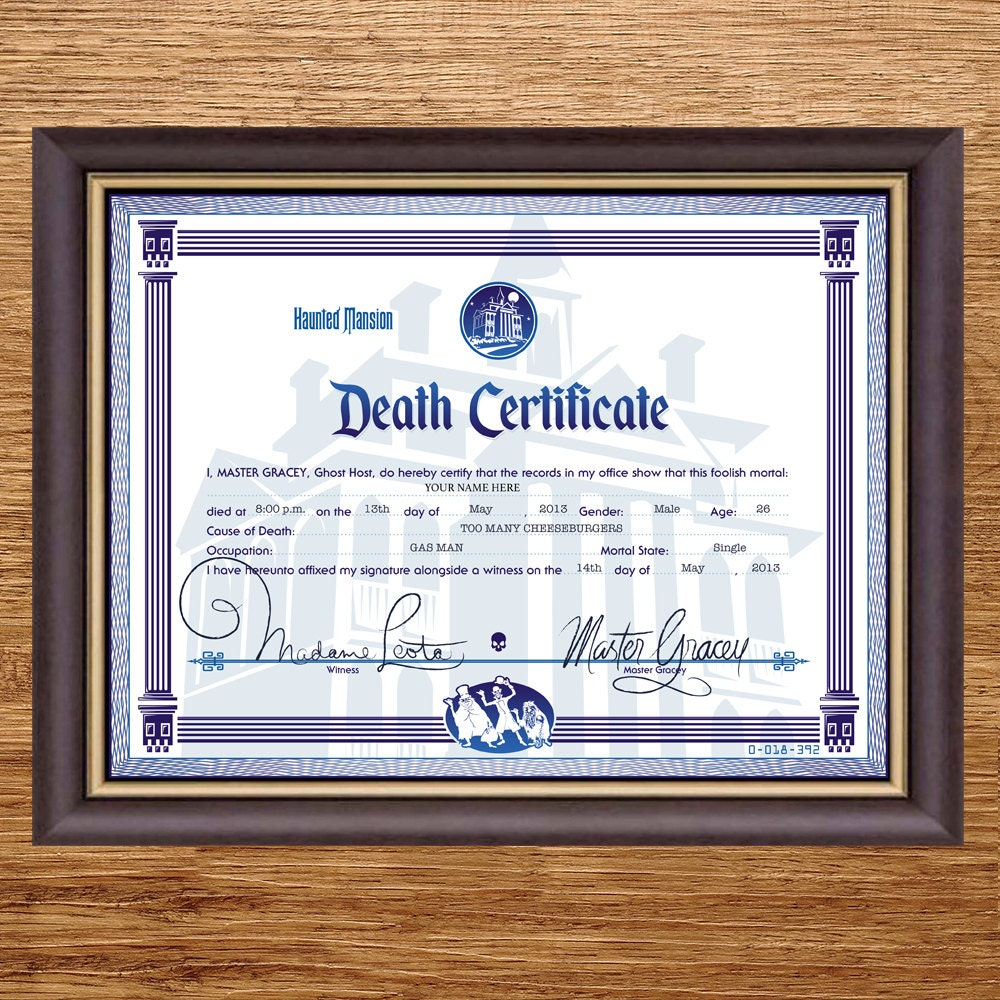 Disney haunted mansion death certificate digital file zoom yadclub Images
