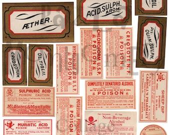 Vintage Poison Labels Number 1 Digital Download Collage Sheet