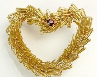 Vintage Wire Work Heart Brooch Red Rhinestone Brooch