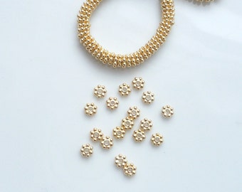 4mm )Vermeil daisy spacers (gold plated .925 sterling silver). 20pcs and full strand options
