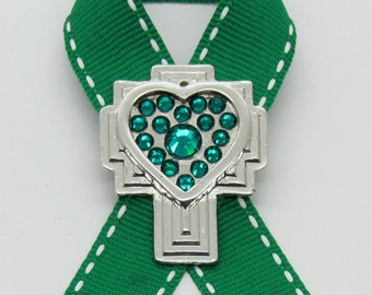 Liver & Kidney Cancer Awareness Pin, Cross, Crystals, Handmade, Gift for Anyone, Angels, Jewelry
