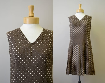 1960s California Girl Brown Polka Dot Drop Waist Dress