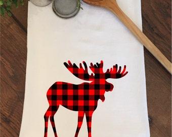 Buffalo Plaid Rustic Cabin Lumberjack Bear Deer Moose Woodland Flour Sack Hand Towel Tea Dish Kitchen Bathroom Wedding Bridal Shower Favors