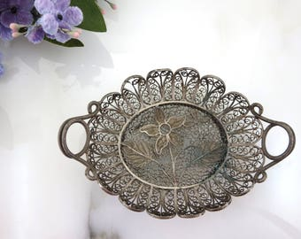 Silver Filigree Bowl Miniature Handled Dish - Boho Home Decor