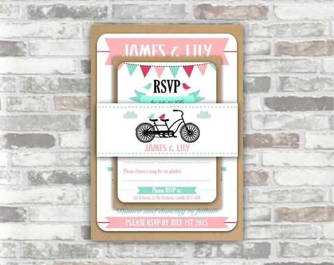 PRINTABLE Print your own personalised WEDDING invitation BUNDLE - digital files - bunting, tandem bicycle, vintage bike, pink mint green diy