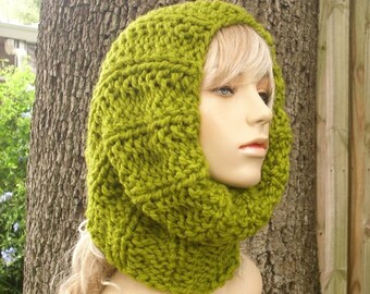 Lemongrass Green Cowl Knit Cowl Scarf - Twilight Cowl - Green Cowl Green Scarf Chunky Scarf Womens Accessories Fall Fashion