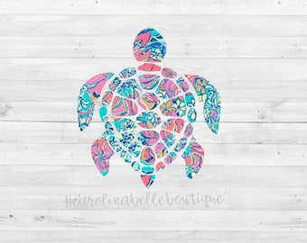 Lilly Pulitzer Turtle Decal / Turtle decal / Sea Turtle Sticker/ Lilly decal