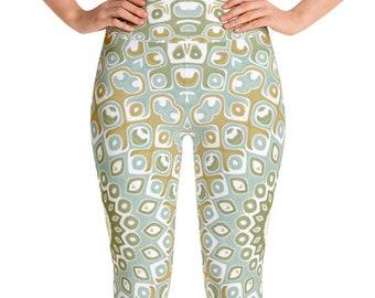 Leggings Earthy High Waist Yoga Pants, Women's Printed Leggings, Nature Mandala Leggings