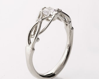 Celtic Engagement Ring, Platinum engagement ring, Unique diamond ring, unique engagement ring, Knot ring, solitaire ring, ENG9