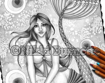 Adult Coloring Page - Grayscale Coloring Page Pack - Printable Coloring Page - Digital Download - Fantasy Art - VIENNA - Nikki Burnette