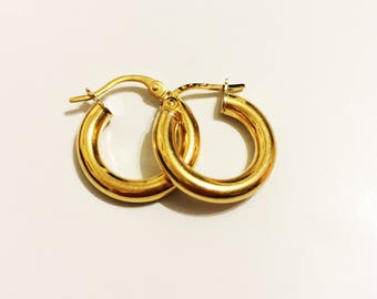 14k solid yellow gold(15mm)tube hoop earrings(1.2gr)