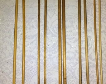 5 Pairs of Vintage Wooden And Bamboo Knitting Needles