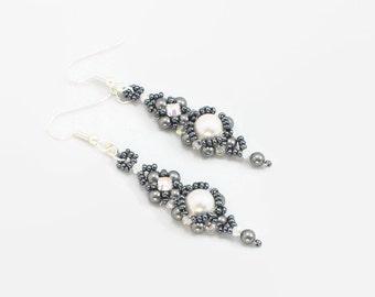 Pearl Earrings - Dangle Earrings - Beadwork Jewelry - Wedding Earrings - Bridal Jewelry - Bridesmaids Gift - Gray Earrings