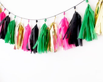 Hot Pink, Kelly Green, Black Gold Tassel Garland   Tassel Banner   Pink and Green Party Decor   Party Supplies   Birthday Party Decor