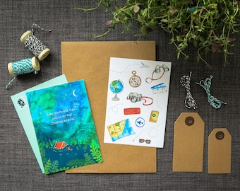 Wanderlust Watercolor Travel Set - Stickers, Postcards, Labels and Bakers Twine