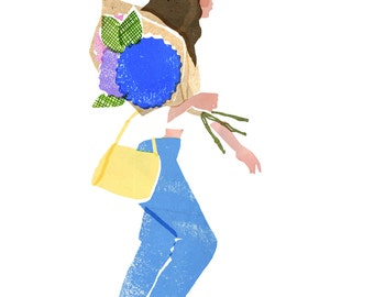 Archival Art Print - Girl With Flowers, Floral Art, Hydrangea, Flower Market, Fashion Art, London, Home Decor, Gift for Her, Collage Art