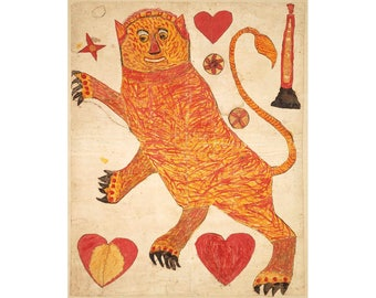 Antique folk lion fraktur print, Early American folk art, Folk animal painting, Primitive Americana, 19th century, Naive art, Obscure art