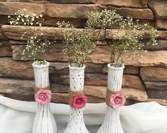 Antique vases, farmhouse vases, wedding centerpiece, farmhouse wedding, farmhouse decor, cottage, shabby chic, distressed